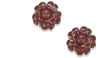 Chanel Vintage Metallic Camellia Earrings
