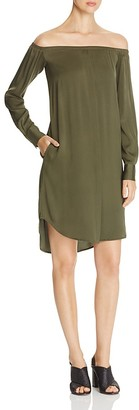 DKNY Off-the-Shoulder Silk Shirt Dress $298 thestylecure.com