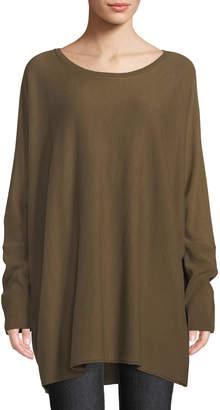 Lafayette 148 New York Crewneck Dolman-Sleeve Oversized Cashmere Pullover Sweater