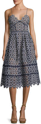 Self-Portrait Self Portrait Sweetheart Azaelea Lace Fit-and-Flare Tea-Length Cocktail Dress