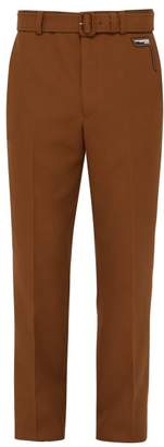 Prada Belted Mohair Blend Straight Leg Trousers - Mens - Brown