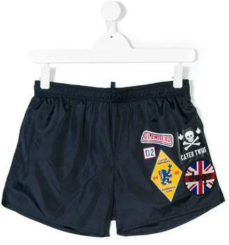 DSQUARED2 Teen multiprinted drawstring shorts