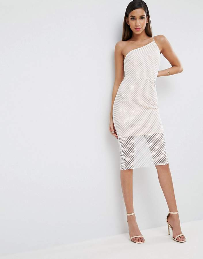 Asos ASOS Geo Mesh Asymmetric Bodycon Dress