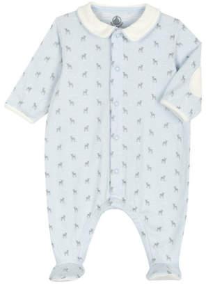 Petit Bateau baby blue collard onesie