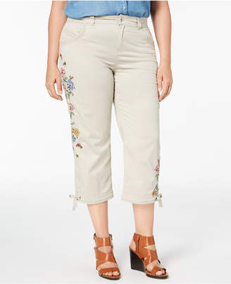 Style&Co. Style & Co Plus Size Petal Fusion Embroidered Cropped Pants, Created for Macy's