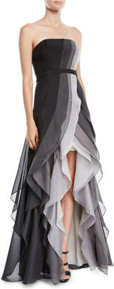 Halston Strapless Ombre Tiered Ruffle Gown