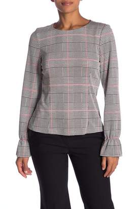 Nine West Plaid Flounce Sleeve Cuffs Top