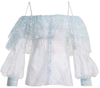Rodarte Off The Shoulder Lace And Tulle Top - Womens - Blue Print