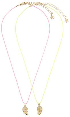 Accessorize 2x Neon Cord BFF Broken Hearts Necklaces
