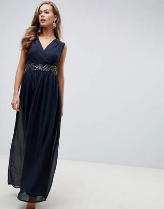 AX Paris navy maxi dress with embellished detail