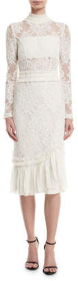 Alexis Anabella Mock-Neck Long-Sleeve Lace Sheath Dress