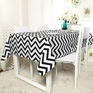 LINENFORT Tablecloth Modern Canvas Double by Cotton Thick Canvas A Triangular Wave Striped Coffee Table
