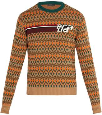 Prada Intarsia-logo wool and cashmere-blend sweater