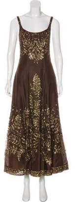 Reem Acra Sequin-Embellished Evening Dress Brown Sequin-Embellished Evening Dress
