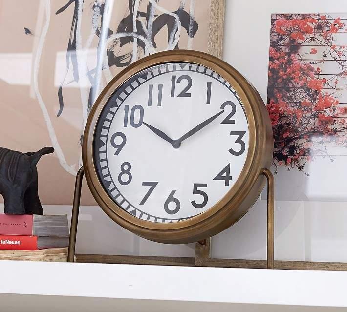 Nicholas Brass Desktop Clock