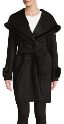 Cinzia Rocca Mink Fur-Trimmed Wrap Coat