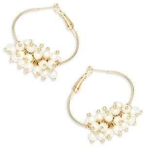 Design Lab Faux Pearl Hoop Earrings