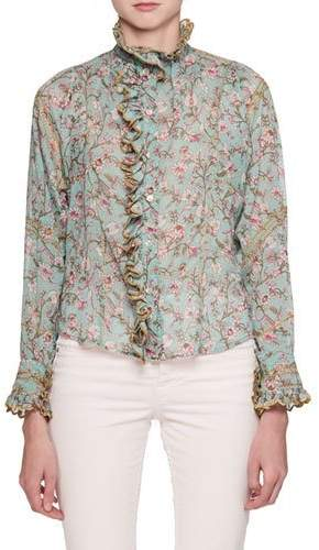 Etoile Isabel Marant Mauryn Floral-Print Blouse with Embroidered Ruffled Trim