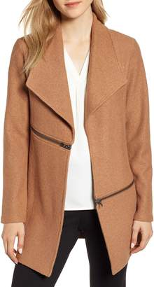 Anne Klein Wing Collar Zip Detail Wool Blend Jacket