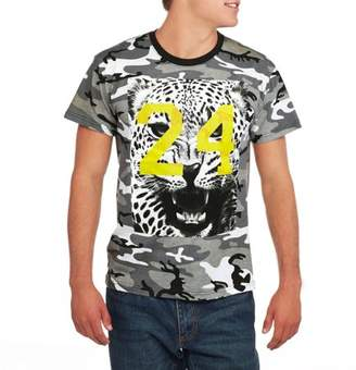 Humör Camouflage Snow Leopard # 24 Big Men's Camo Short Sleeve Graphic T-Shirt, 2XL