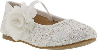 Badgley Mischka Amber Flower Glitter Mary Jane Flat