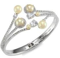 Glass Pearl Open Hinged Cuff
