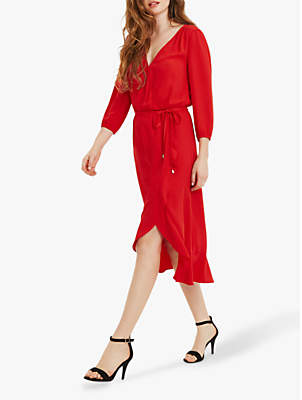 Oasis Midi Wrap Dress, Mid Red