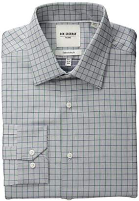 Ben Sherman Men's Slim Fit Twill Check Spread Collar Dress Shirt