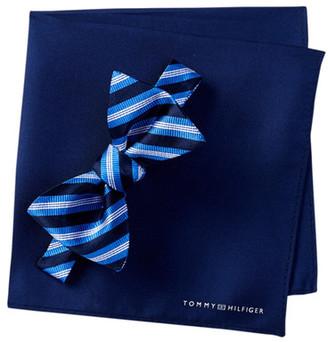 Tommy Hilfiger Silk Stripe Bow Tie & Pocket Square Set $59.50 thestylecure.com