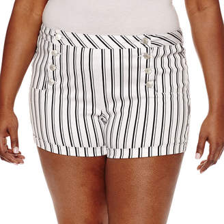 Almost Famous Womens High Waisted Chino Short-Juniors Plus