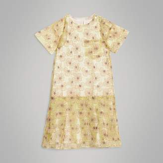 Burberry Floral Applique Tulle Dress , Size: 14Y, Yellow
