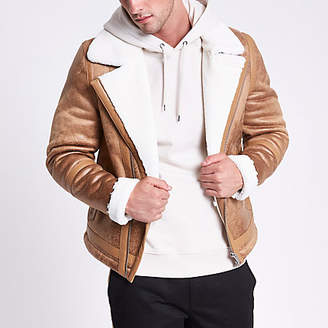 River Island Light brown fleece lined biker jacket
