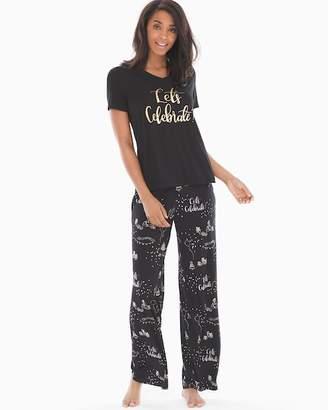 Cool Nights Short Sleeve Pajama Set Celebrate Graphic Black