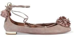 Aquazzura Sunshine Pompom-Embellished Suede Ballet Flats