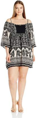 Angie Women's Plus Size Crochet Front Dolman Sleeve Dress with Tassels, Black/Ivory