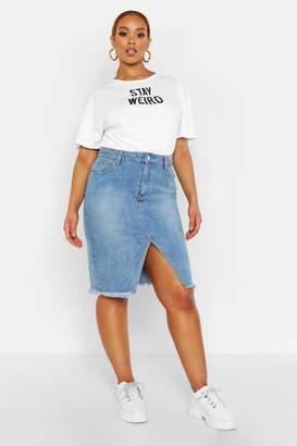 boohoo Plus Denim Midi Skirt