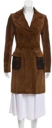 Prada Knee-Length Suede Coat
