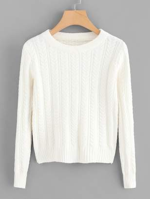 Shein Solid Cable Knit Jumper