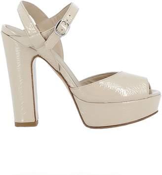 Elena Iachi Beige Leather Sandals