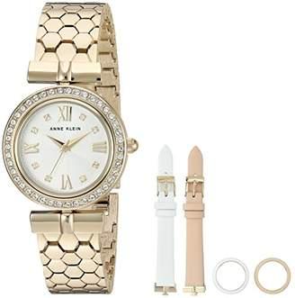 Anne Klein Women's AK/3140INST Swarovski Crystal Accented -Tone Bracelet Watch with Interchangeable Bezel and Strap Set