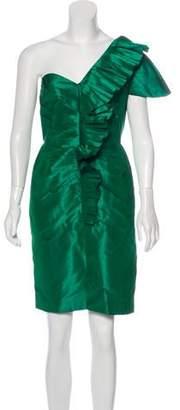 Oscar de la Renta Silk Pleated Dress
