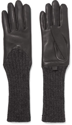 Agnelle Leather And Ribbed Cashmere Gloves - Dark gray