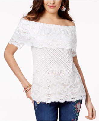 Thalia Sodi Off-The-Shoulder Lace Top, Created for Macy's