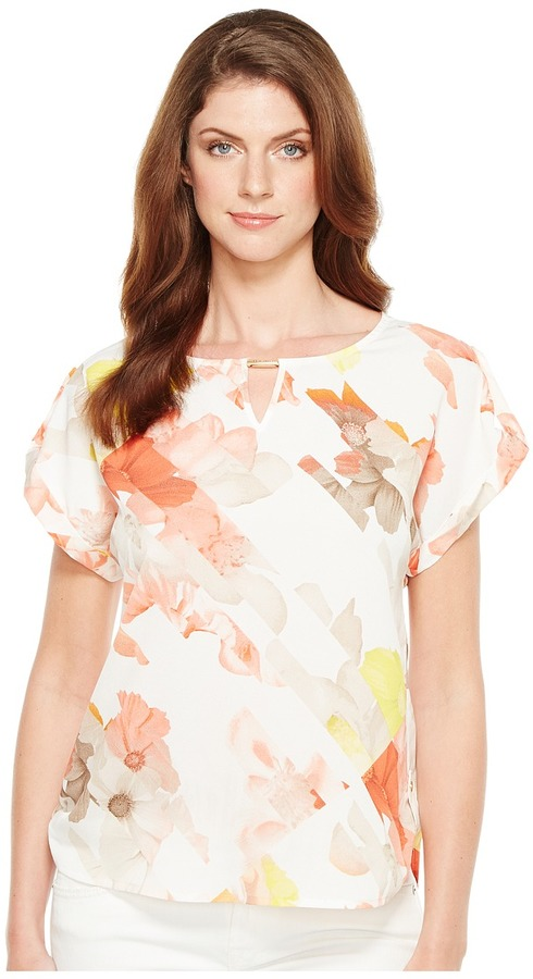 Calvin Klein - Printed Top with Hardware Women's Blouse