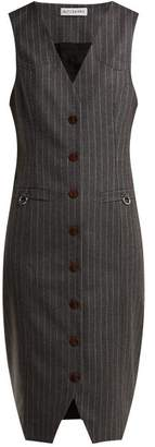Naomi Single Breasted Wool Dress - Womens - Grey Stripe