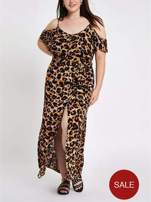River Island RI Plus Maxi Dress - Leopard Print