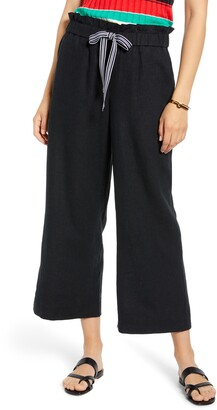 1901 Drawstring Crop Linen Blend Pants
