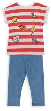 Betsey Johnson Little Girl's Two-Piece Stripe Top and Capri Pants Set