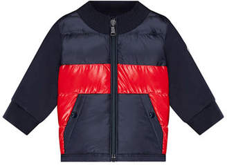 Moncler Quilted Two-Tone Jacket w/ Knit Sleeves, Size 12M-3