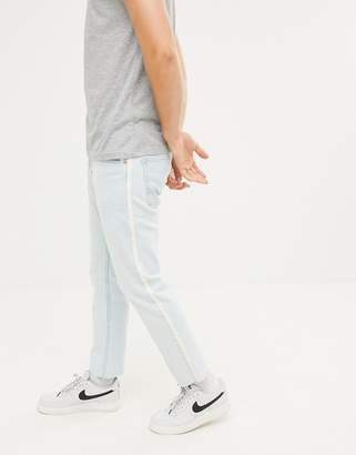 Pull&Bear Slim Jeans With Taping In Light Blue